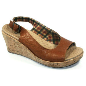 Crocs Womens A-Leigh Leather Wedge Brown Sandals 8